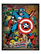 Captain America Poster Gloss Black Framed He Took On All Of Them! 40x50cm