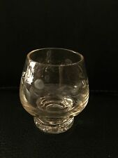Vintage Clear Glass Etched Shooter Shot Glass  Hand Blown bubble solid base