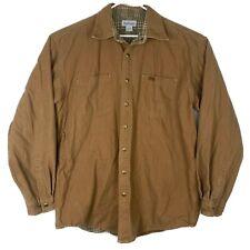 Carhartt Mens L Tall Brown Duck Canvas Shirt Jacket Plaid Flannel Lined S96BRN