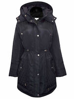 WOMENS QUILTED PANEL HOODED JACKET BLACK OR GREY Size UK 10,12,14,16 -S-XL
