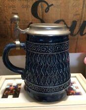 Cobalt Blue German Beer Sein With Pewter Lid