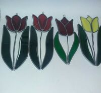 4 stained glass tulip suncatchers