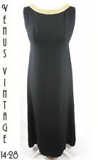 "UK 14 Blanes Vintage 1960s Black Gold Maxi Evening Dress Train Bust 40"" 102cm"