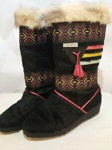 Tecnica Womans size 39 euro/8 US Black Fur Boots