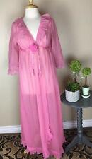 Vintage Evette Chiffon Womens Robe Pink sheer ruffle Sz M