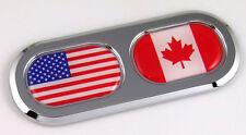 USA / Canada Double Country Flag Car Chrome Emblem Decal Sticker Badge DC