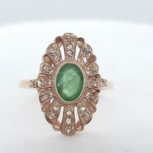 Antique 1.08ctw Colombian Emerald & H-SI Diamond 14K Rose Gold 925 Silver Ring