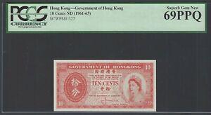 Hong Kong 10 Cents ND(1961-65) P327 Uncirculated Grade 69