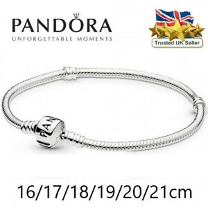 PANDORA Moments Style Snake Barrel Clasp Chain Charm Bracelet UK 17-20cm Silver