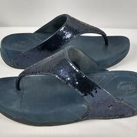Fitflop Micro Wobble Board Womens Toning Sandals Flip Flops Black Sequins Size 9