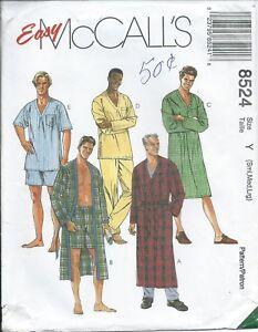 M 8524 sewing pattern WRAP ROBE TOP PANTS SHORTS NIGHTSHIRT size men 34-44 UNCUT