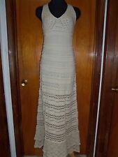 Victoria's Secret Moda International Beige Lined Crochet Halter Maxi Dress XS
