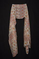 Tangerine Blue Violet & Cream Curly Multi Coloured Squares Print Scarf (S175A)