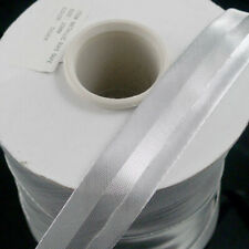"7/8"" (20 mm) Metallic Silver Single Fold Polyester Bias Tape - 100 Yards Roll"