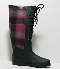 Chooka boots Plaid Pink Black Rainboots Lace Up Womens 6 M NEW