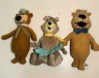 "Lot of 3 Yogi Bear, Cindy and Boo Boo 9"" Plush Hanna Barbara Stuffed Animals"
