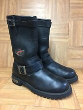 Vintage🔥 RED WING Made In USA Motorcycle Engineer Boots Sz 6.5 Black 970 Pullon