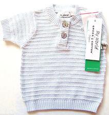 Chaleco de punto talla 56 Green Cotton nuevo m.e 100% algodón bio azul fina Baby