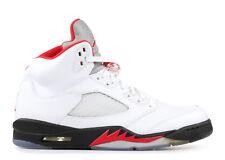 2015 Nike Air Jordan 5 Retro Sz 12 BLANCO ROJO INTENSO NEGRO 136027-100