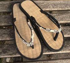 Ladies Seagrass Flip Flops Black/Silver Small/Medium/Large
