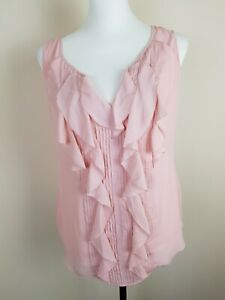 WHITE HOUSE BLACK MARKET REAGAN SHELL BALLERINA PINK RUFFLE TOP BLOUSE SHIRT S