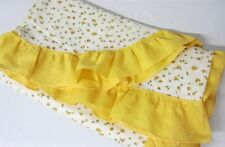 Vintage 40's COTTON PLISSE TWIN BEDSPREAD Tiny Yellow Rosebuds Ruffled Border