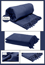 Navy Blue Honeycomb (Waffle)  100% Cotton Sofa Throws / Bed Throws in 5 Sizes