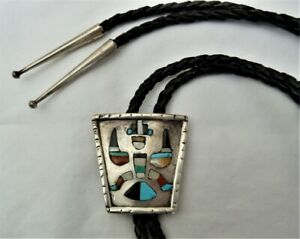 VTG ZUNI STERLING SILVER KNIFEWING INLAY TURQUOISE CORAL MOTHER PEARL BOLO TIE