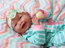 "NEW BABY GIRL SMILING DOLL REAL REBORN BERENGUER 15"" INCH VINYL LIFE LIKE ALIVE"