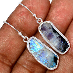 Rainbow Moonstone And Quartz 925 Sterling Silver Earrings Jewelry BE55724