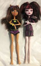 Lot of 2 Clawdeen Wolf & Draculaura Monster High dolls