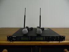 SHURE UHFR 2 CH. HANDHELD WIRELESS MIC SYSTEM UR4D, (2) UR2 SM58 TRANSMITTERS J5