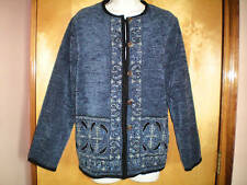 NWT NEW womens ladies blue black beaded sequin jacket size S 4/6 lined paisley