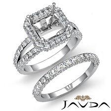 Diamond Engagement Ring Asscher Bridal Set 14k Gold White Semi Mount 2.30 ct.