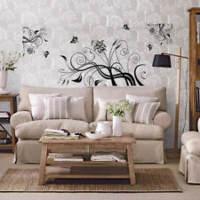 Large vine flowers butterfly  Wall Sticker Art Decal Reusable&Removable