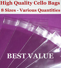 Clear Peel & Seal Cello Bags for Greeting Cards / Cellophane Bags - 8 Sizes