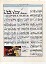 Z58 Ritaglio Clipping 1984 Lipu banche-dati migrazioni a Capri e in Sardegna