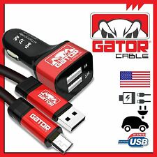 Micro USB Cable +Dual 2Port Car Charger Samsung S3 S4 S6 HTC Android LG Sony 6FT