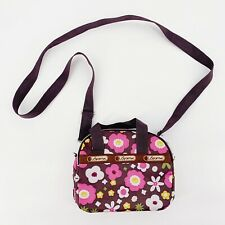 LeSportSac Womens Bag Brown Pink Floral Mini Crossbody Purse Retro Lots Of Space