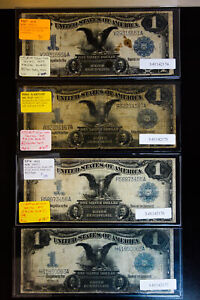 US Paper Money 1899 Lot of 4 $1 Black Eagle Silver Certificate Notes NO RESERVE!