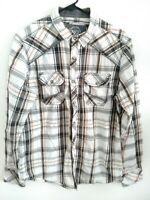 BKE Buckle Standard Fit Mens Medium White Gray Brown Plaid Snap Button Up Shirt
