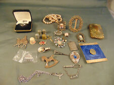 Vtg lot tie clips locket 4 metal thimbles fake pearls shoe clip crafters supply