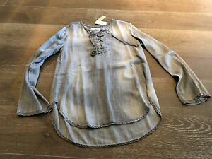 BELLA DAHL NWT STIRLING WASH TENCEL GRAY OMBRE PULLOVER BLOUSE TOP SZ S