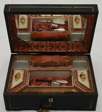 Beautiful Antique Palais Royal Box Pink Gold Interior Sewing/Grooming With Key