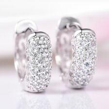 New Charms Sapphire Crystal Fashion Bridal Wedding Gold Filled Hoop Earrings