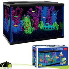 Aquarium Starter Kit Fish Tank 10 Gallon Terrarium Led Light Aqua Culture Filter