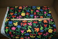 Black Background Colorful Flower Home Decor Fabric Upholstery 2 Yd x 58 Wide