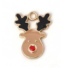 10 pcs-Tibetan Silver Reindeer Charms Noël Pendentif Festif Noël Z174