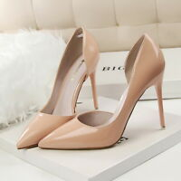 Women's Slip On Pointed Toe Shallow High Heel Stiletto Wedding Party Pumps Shoes