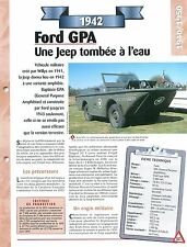Ford GPA 1942  USA Car Auto FICHE FRANCE